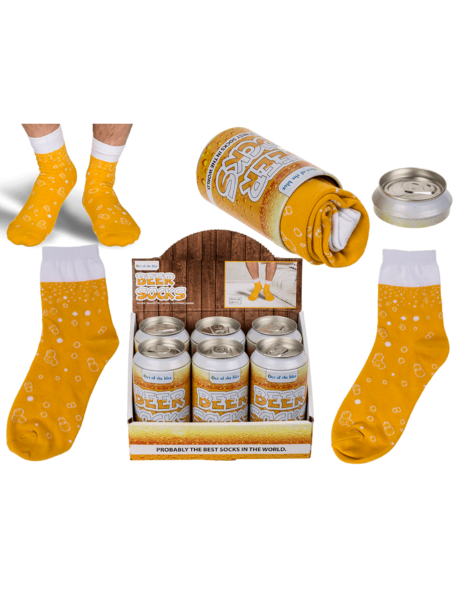 beer can with beer socks