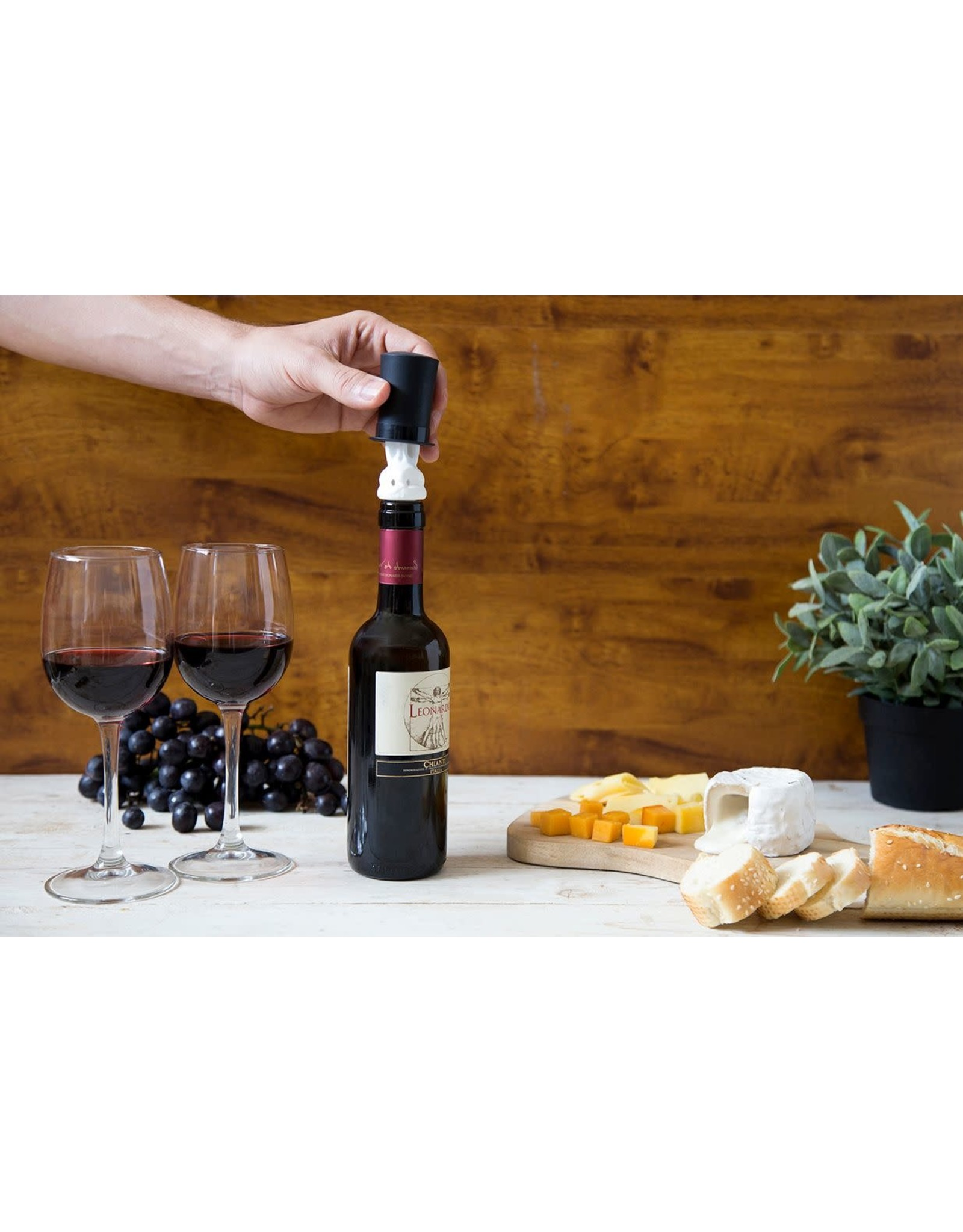 Peleg Design bottle stopper and wine pourer - hat and rabbit - Barney