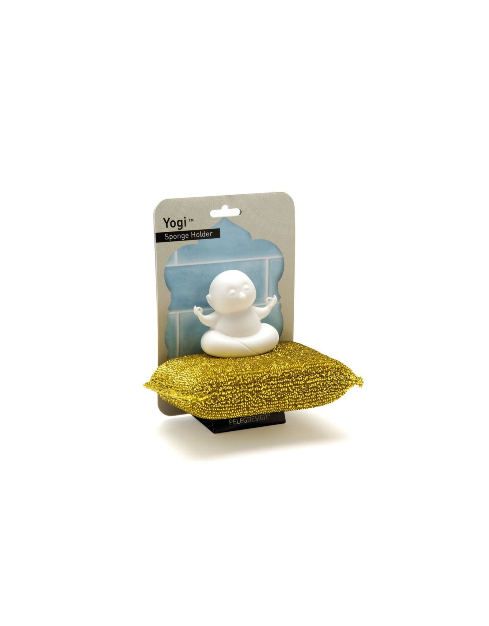 Peleg Design scouring pad with holder in the shape of a yogi