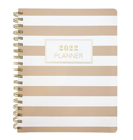 Graphique diary 2021-2022 - 18 mths - rings - white/brown stripes