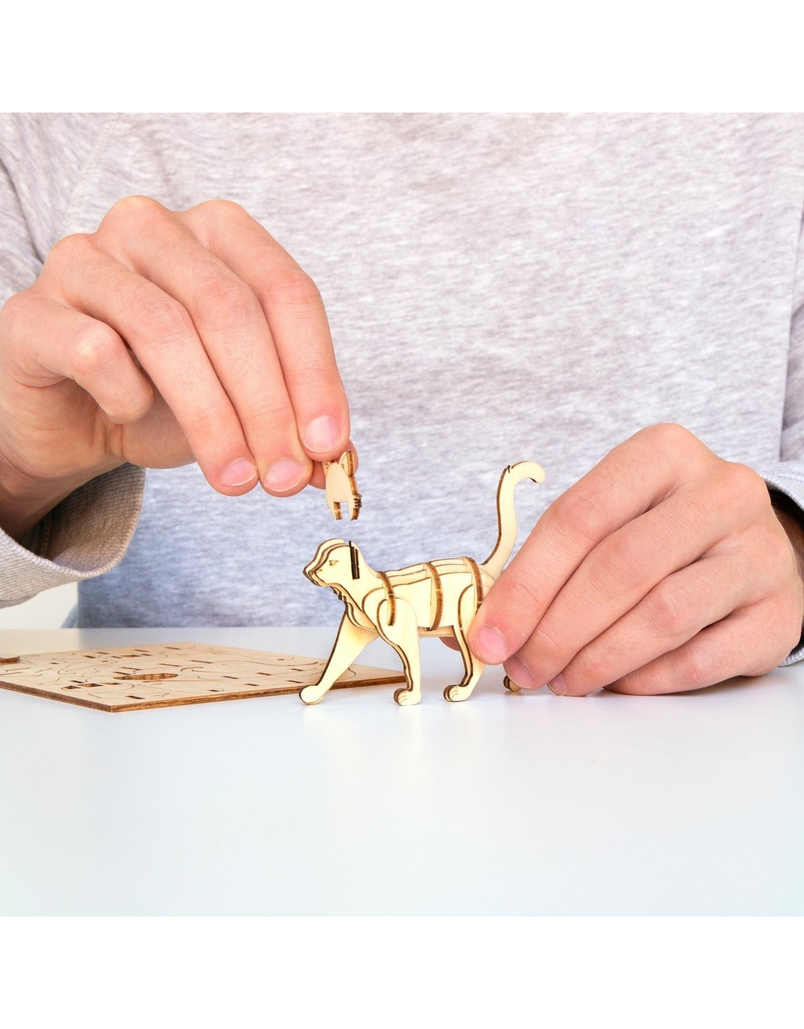 Kikkerland 3D wooden puzzle of a cat