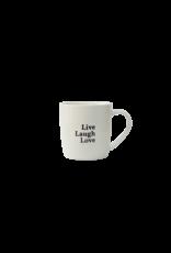 mug with text  live, laugh, love