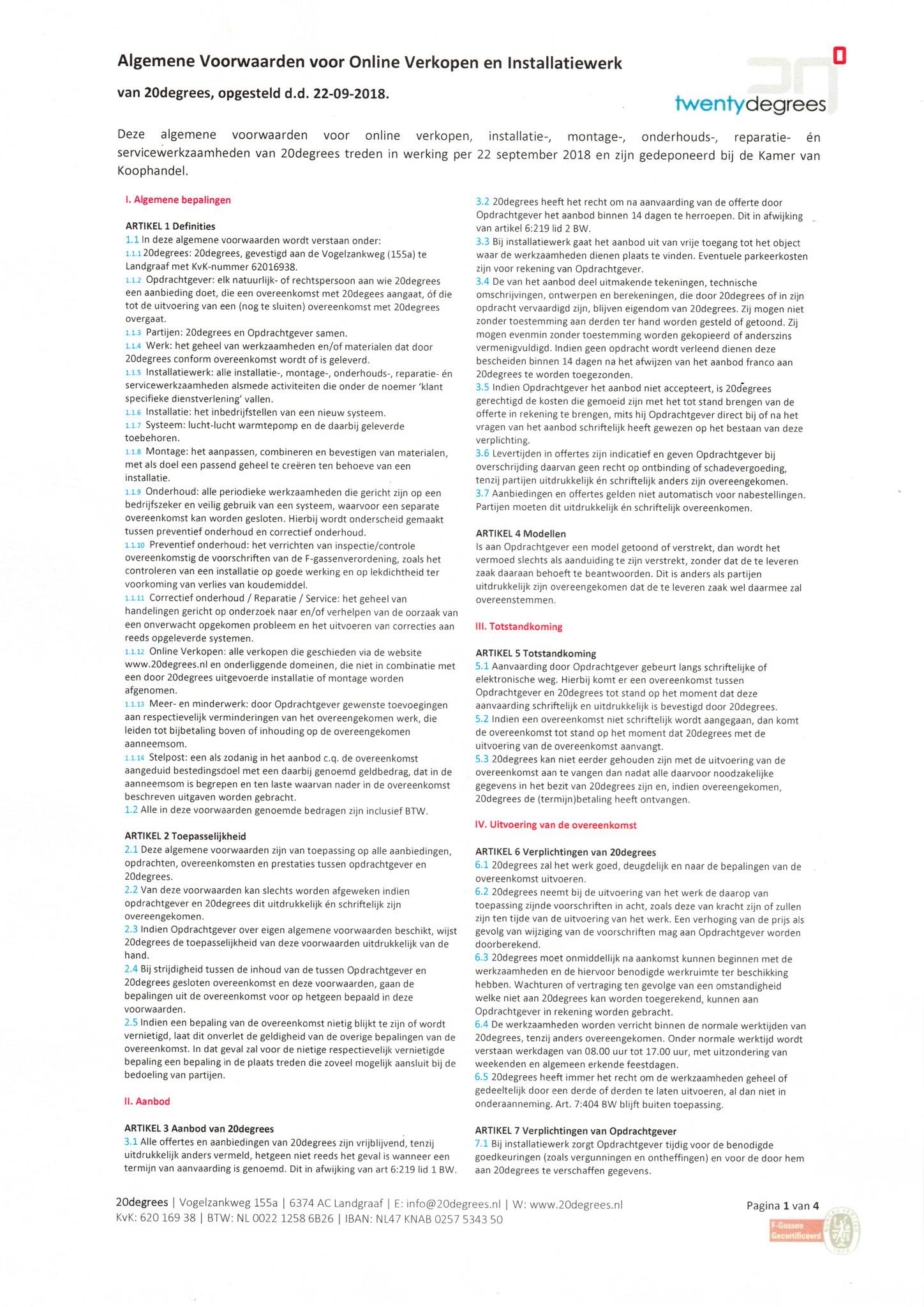 Algemene Voorwaarden - 20degrees - Blad 1 van 4
