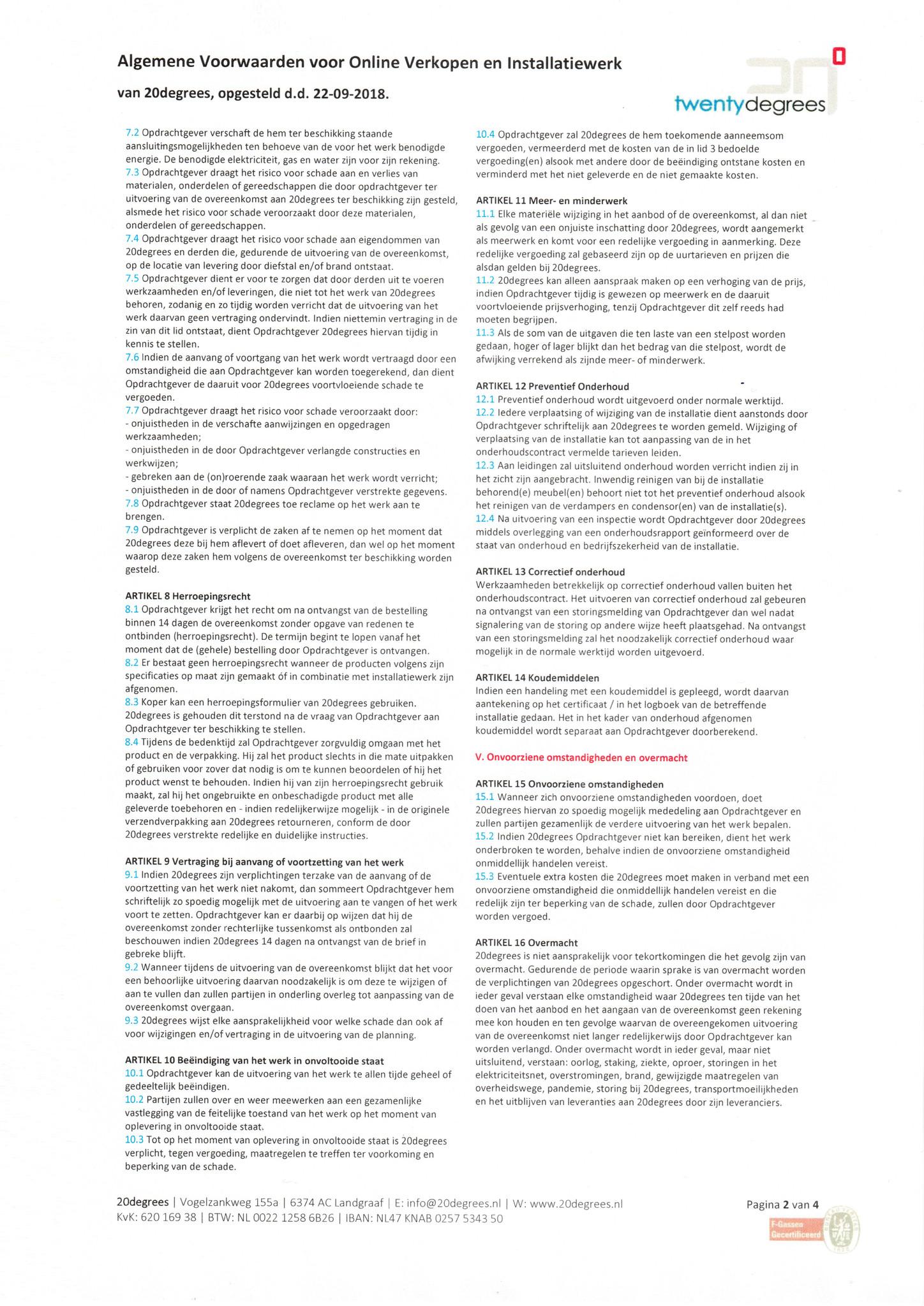 Algemene Voorwaarden - 20degrees - Blad 2 van 4