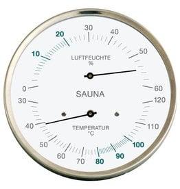 Fischer 004 Voor sauna, thermo- en hygrometer,  roestvrij stalen frame