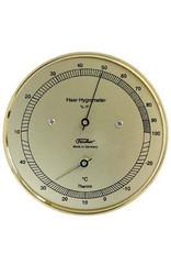 Fischer 008 Hygrometer en thermometer, koperkleurig stalen behuizing