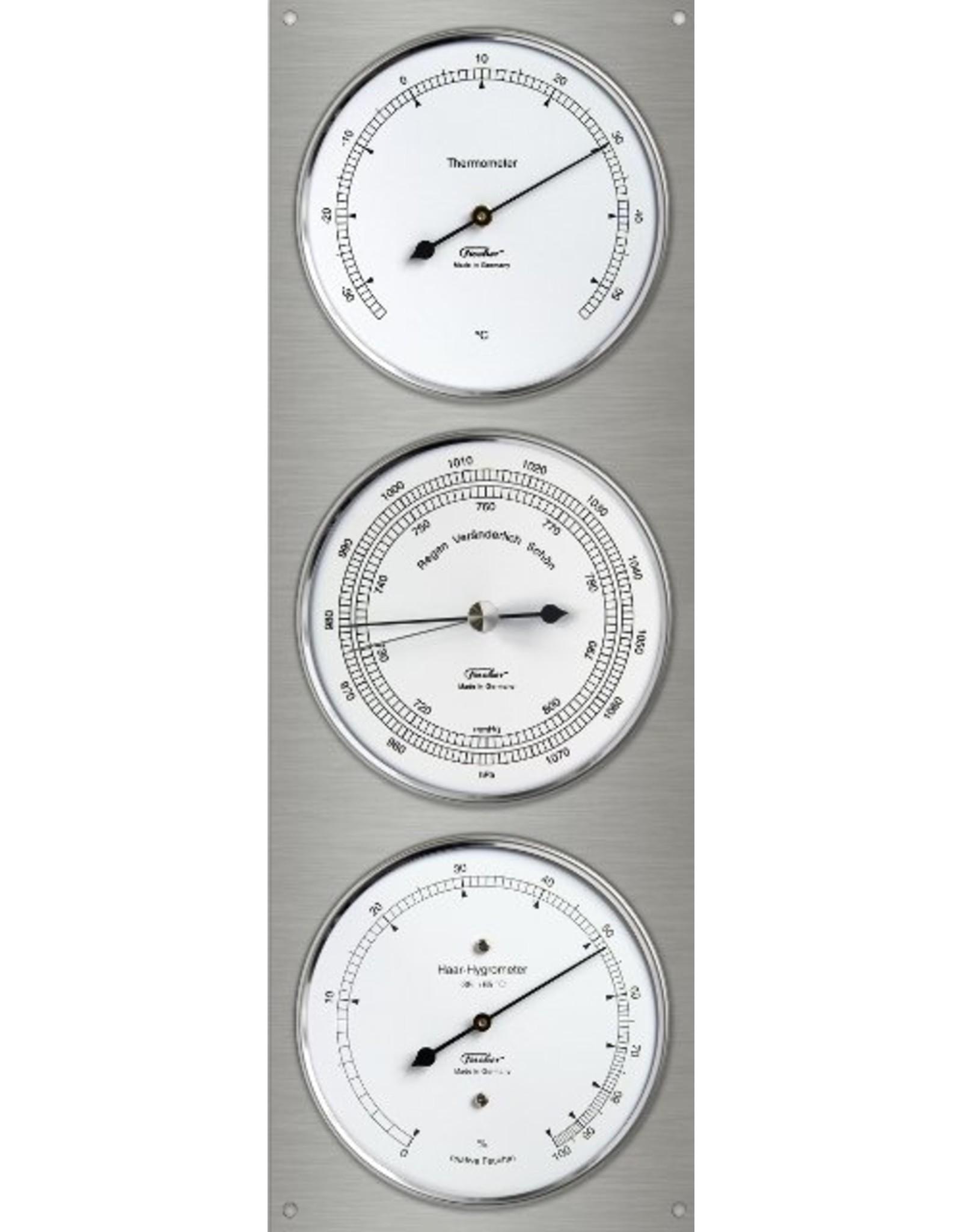 Fischer 010  Hygrometer  thermometer, barometer, in roestvrij stalen uitvoering