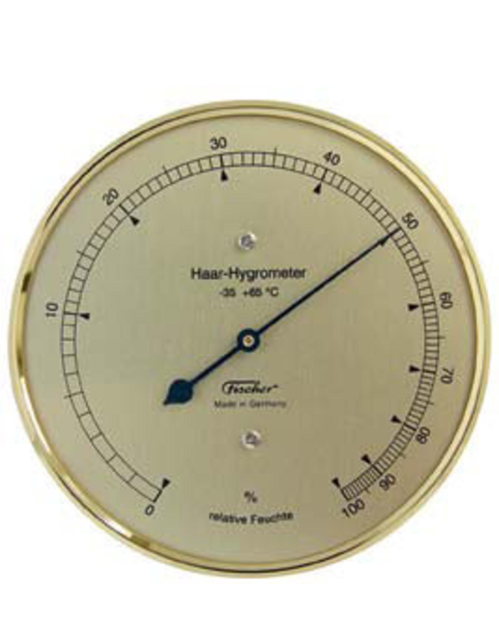 Fischer 012 Hygrometer mensenhaar, stijlvol, koperkleurig stalen frame