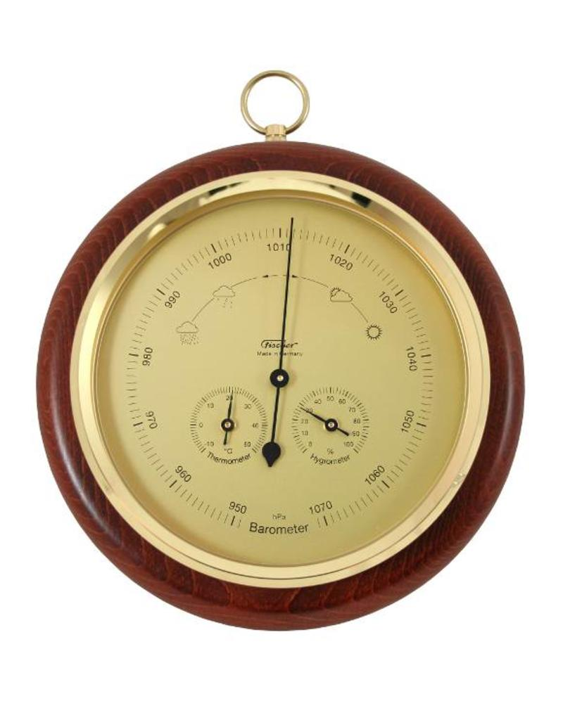 Fischer 014  Barometer met thermometer en hygrometer, in fraaie houten lijst, Ø 20 cm