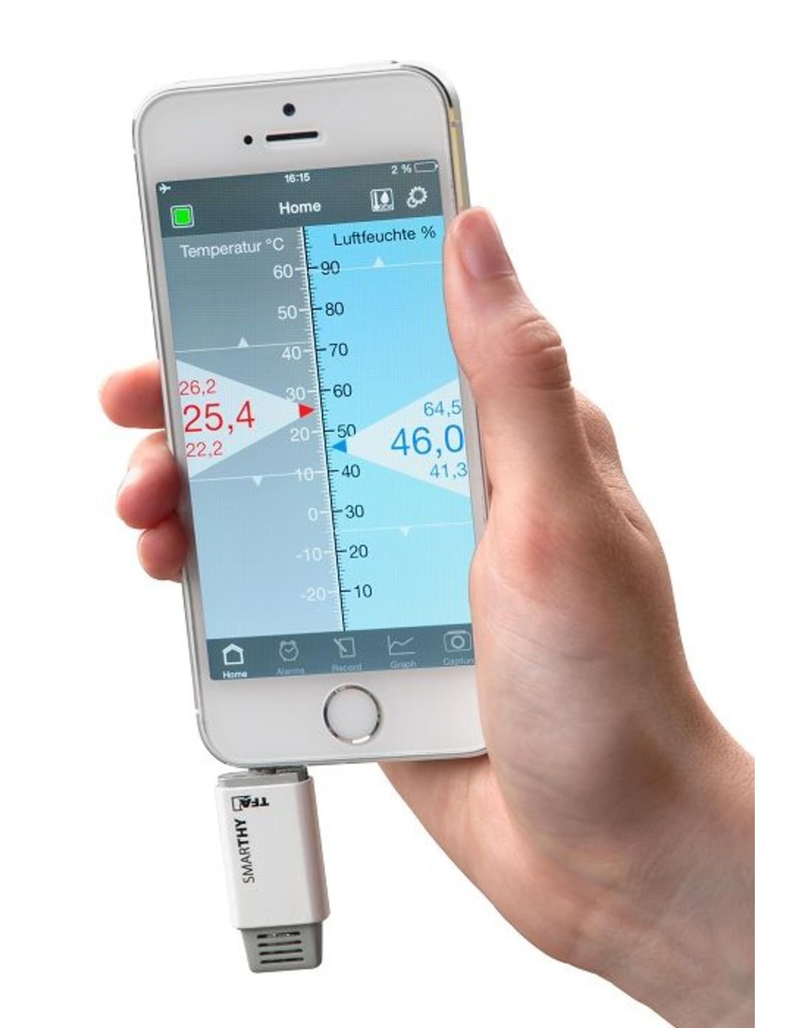 TFA 002 Hygrometer en thermometer voor smartphones - met app - WIT