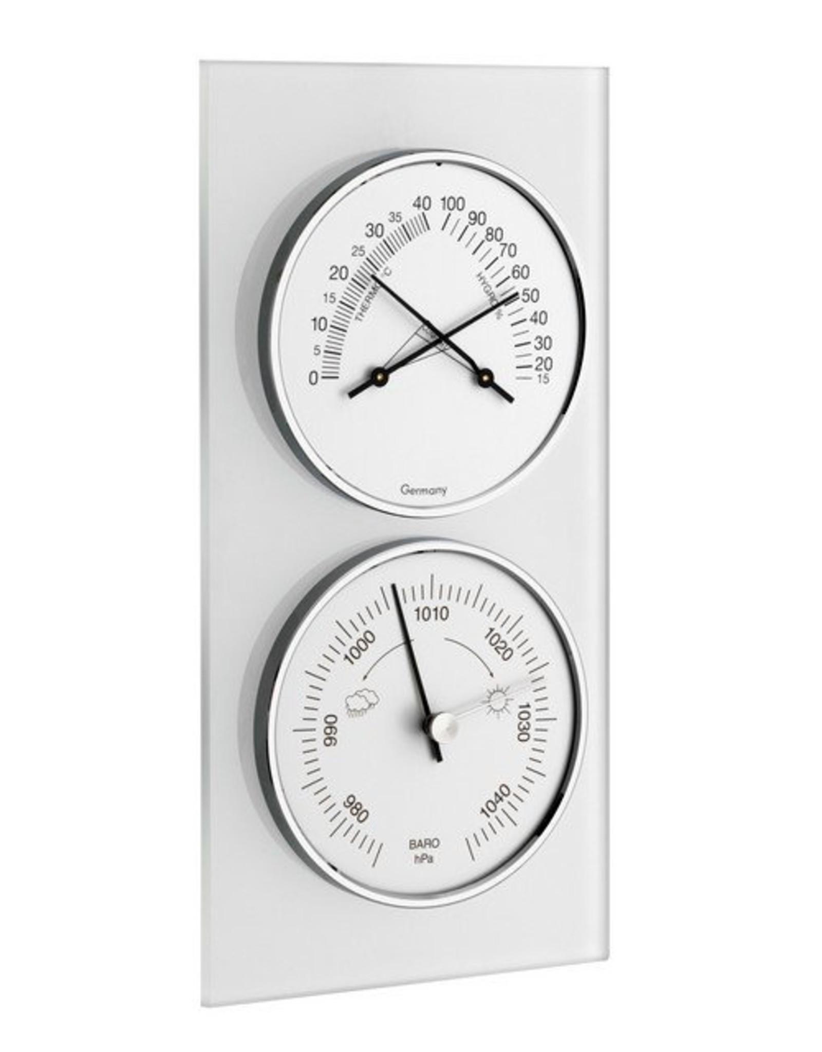 TFA 020 Hygrometer en thermometer, tevens met barometer, stijlvol glazen frame