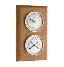 TFA 021 Hygrometer en thermometer, tevens met barometer, mooie eikenhouten lijst