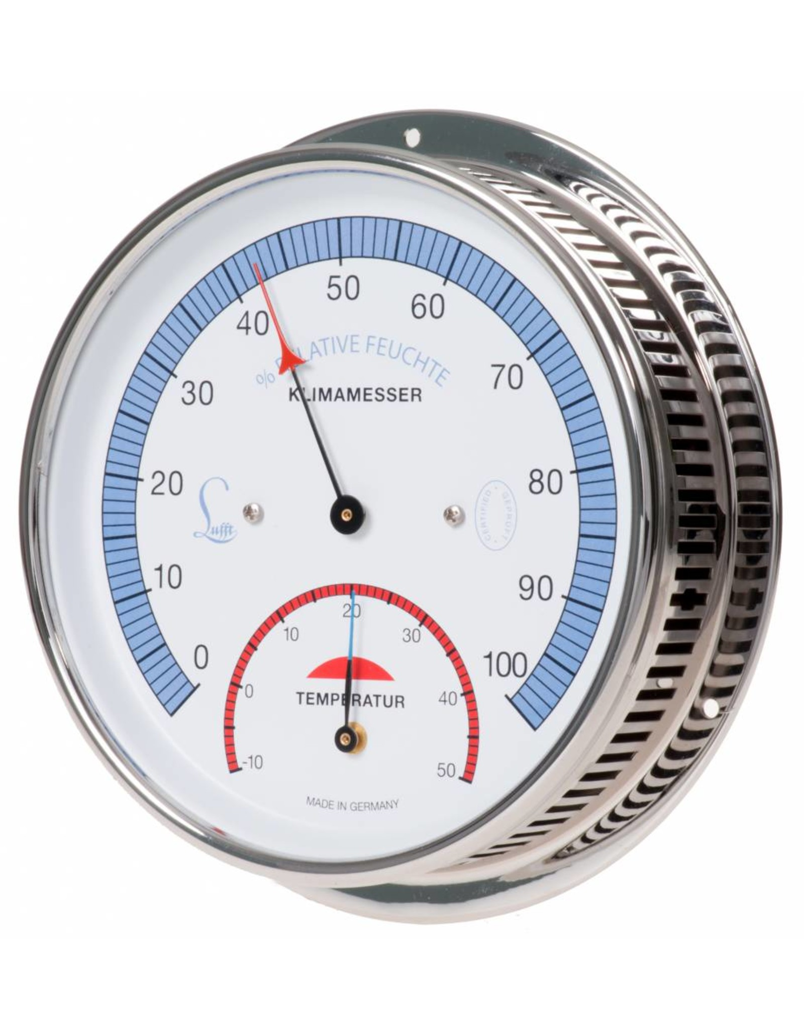 Lufft 001 Hygrometer en thermometer, messing verchroomde behuizing