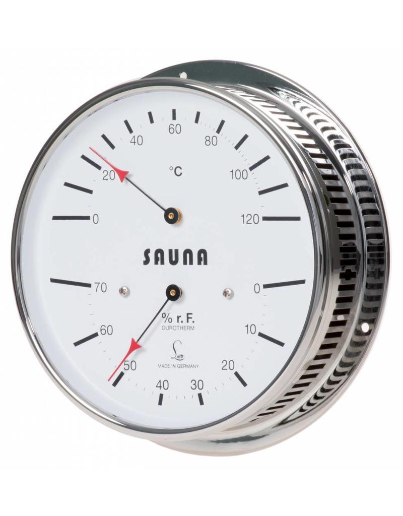Lufft 008 thermo-hygrometer, sauna's, messing verchroomde kast, afstandhouders