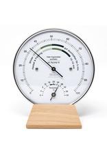 Fischer 002 Hygrometer en thermometer, met comfort-zone, mooi houten voetstuk