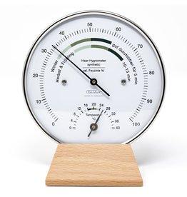 Fischer 002 Hygrometer en thermometer met comfort-zone op mooi houten voetstuk