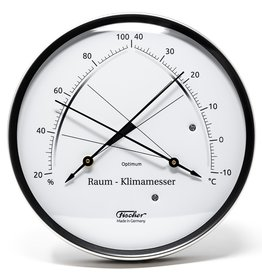 Fischer 006 Hygrometer en thermometer met comfort-zone, roestvrij stalen behuizing
