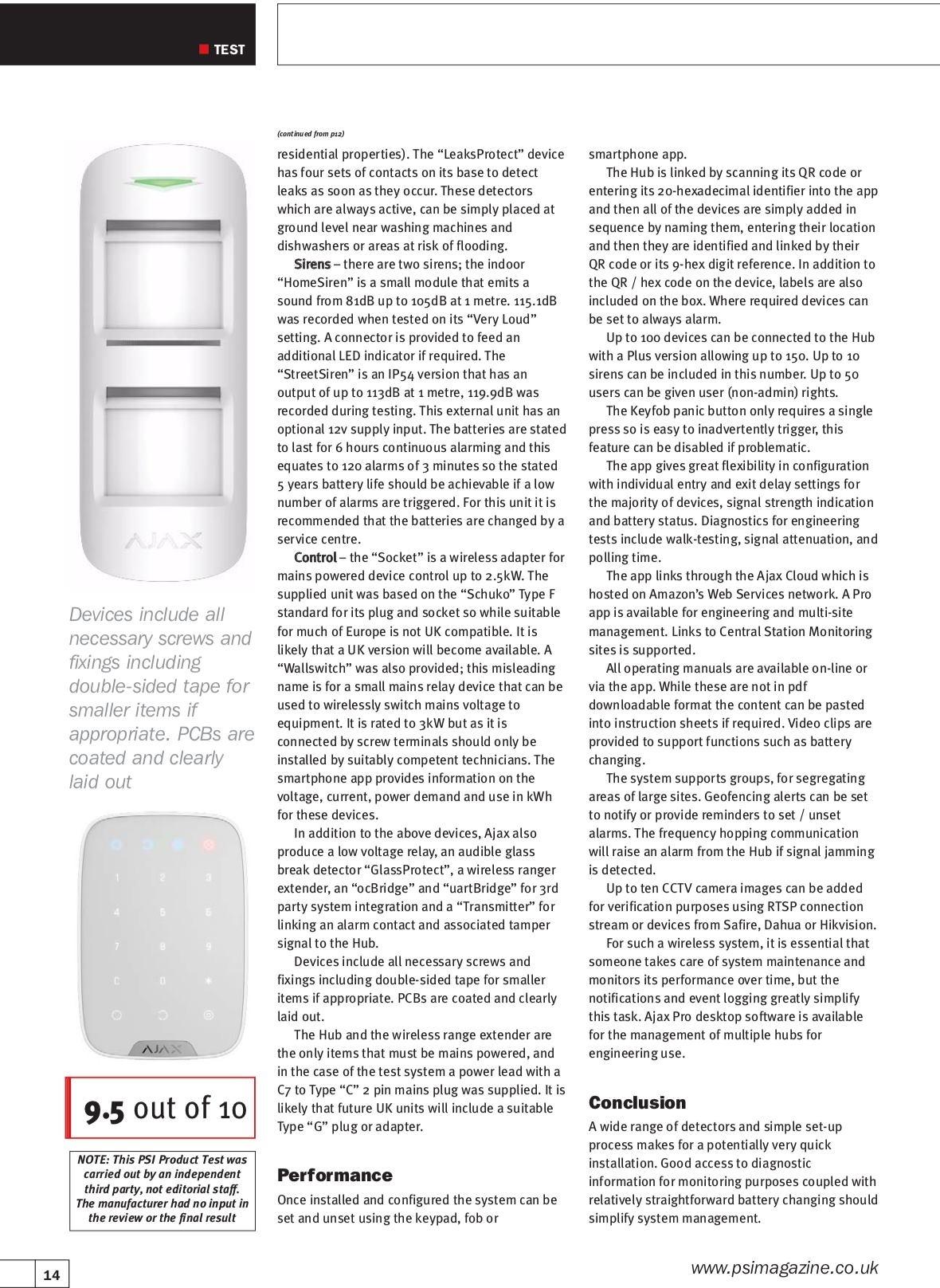 Ajax Systems werd getest door het gerenommeerde PSI Magazine (UK) en behaalt een score van 9,5/10