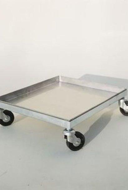 Inox kar op 4 wielen (50 x 43 cm)