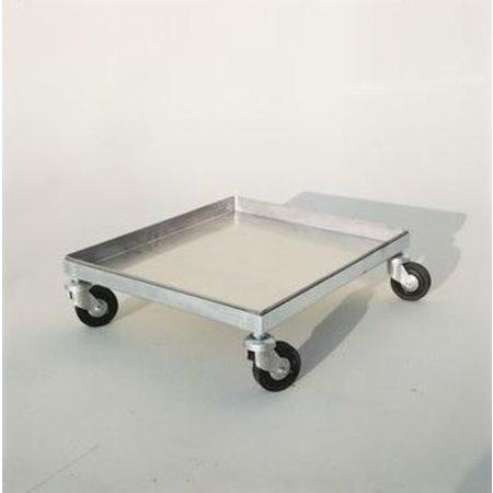 Inox cart on 4 wheels - 50x43 cm