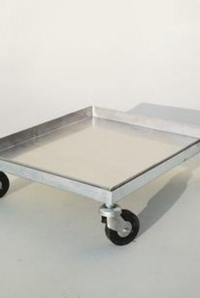 Inox kar  op 4 wielen (50 x 50 cm)