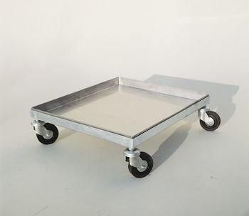 Inox kar  op 4 wielen (50 x 50 cm)-1
