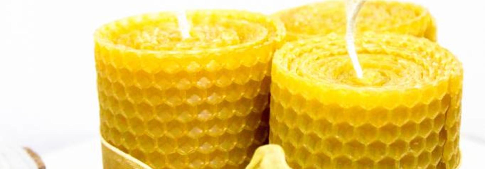 Kleine brede bijenwaskaarsen - 120g
