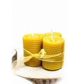 Set kleine brede bijenwaskaarsen