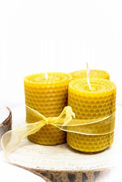 Petites bougies larges en cire d'abeille - 120g