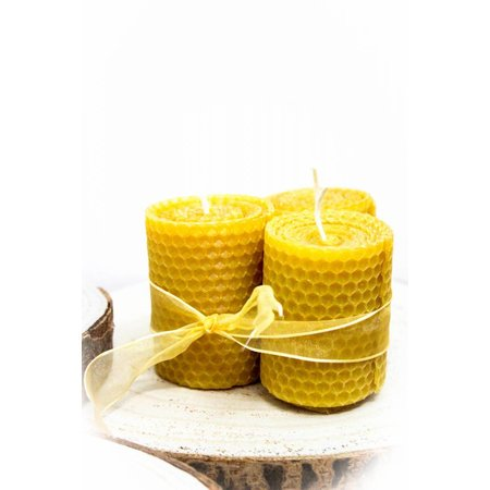 Small wide beeswax candles - 120g
