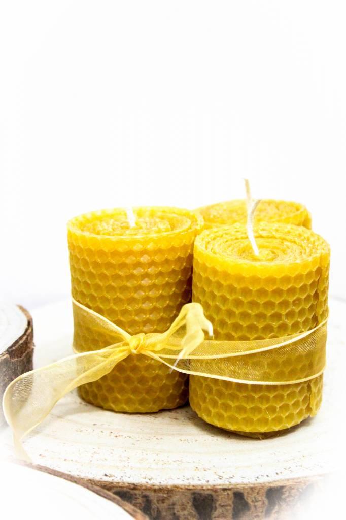 Kleine brede bijenwaskaarsen - 120g-1