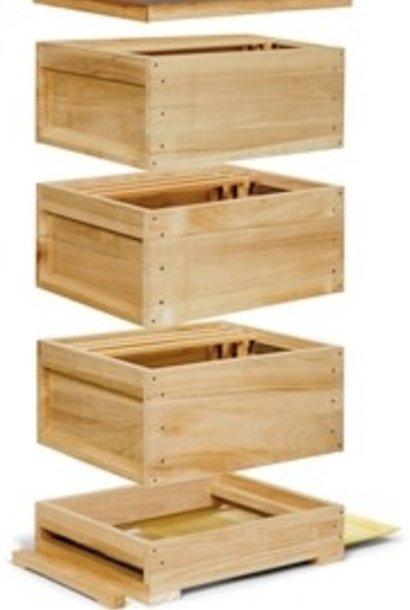 Complete houten Zander kast - 3 broedrompen met ramen