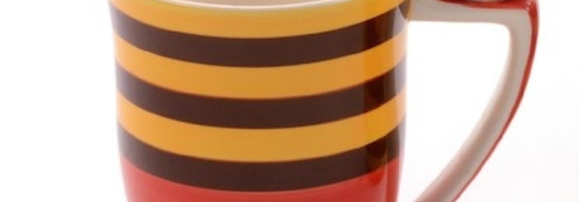 Fritzi tas (gestreept met rode onderkant)