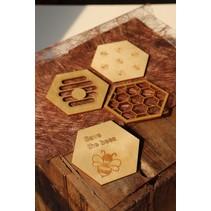 ''Bijen'' set van 4 onderleggers