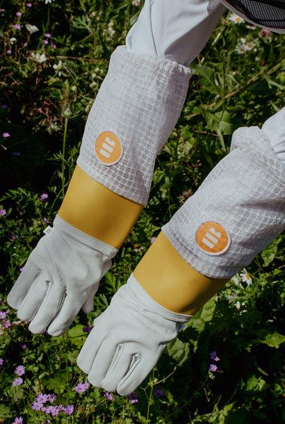 Lederen handschoenen met verluchting achteraan