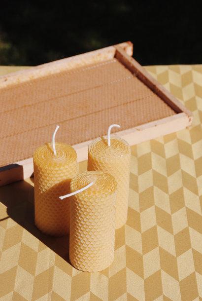 set van 3 bijenwas kaarsen