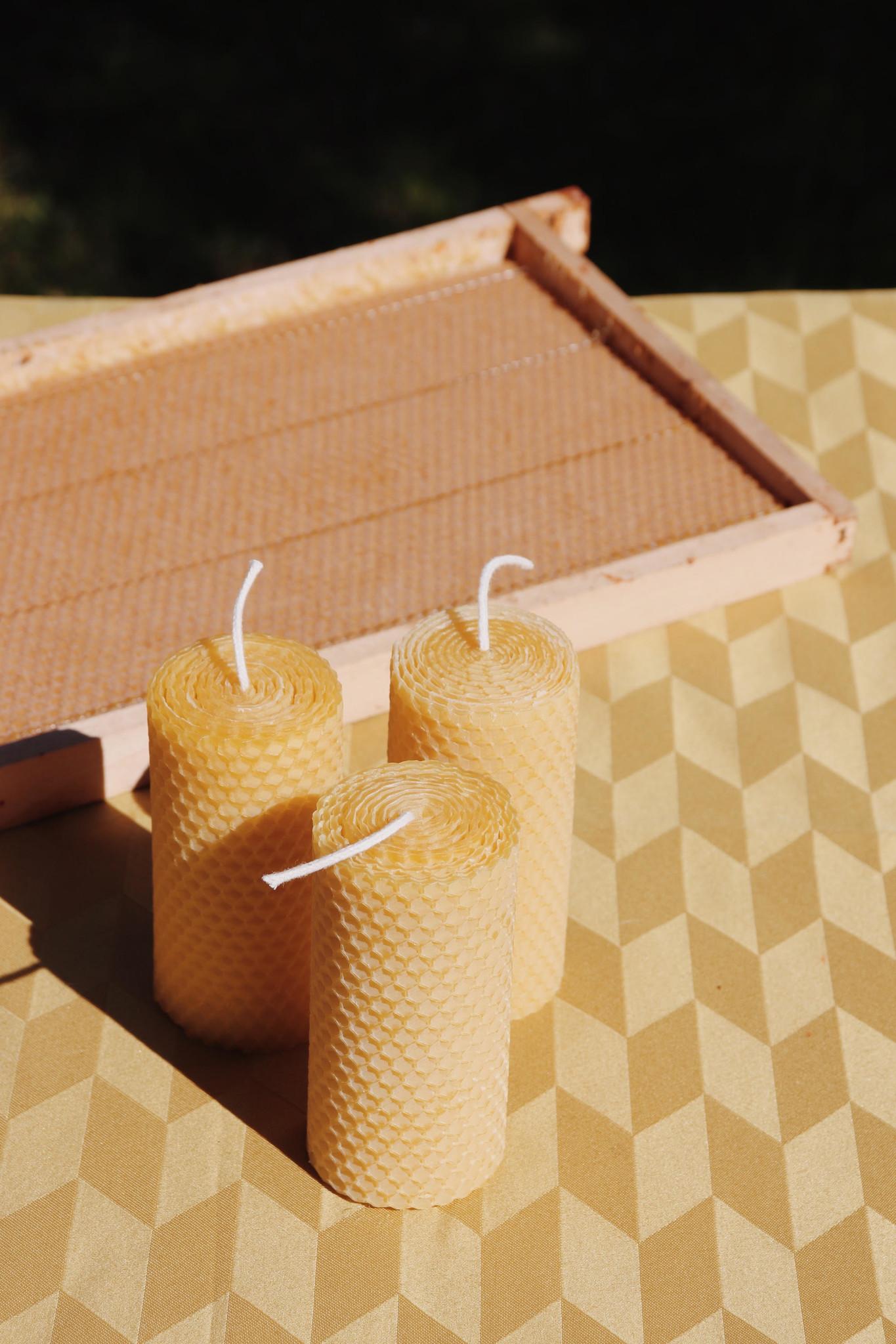 set van 3 bijenwas kaarsen-1