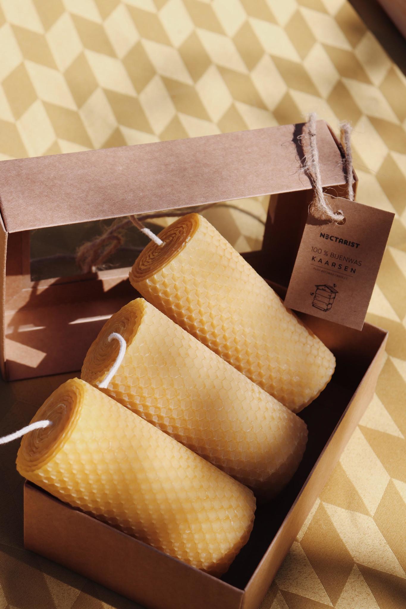 set van 3 bijenwas kaarsen-4