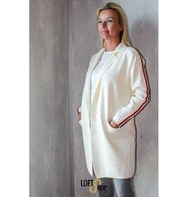 Enzoria Gilet Striped Sleeve TU White