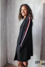 Enzoria Gilet Striped Sleeve TU Black
