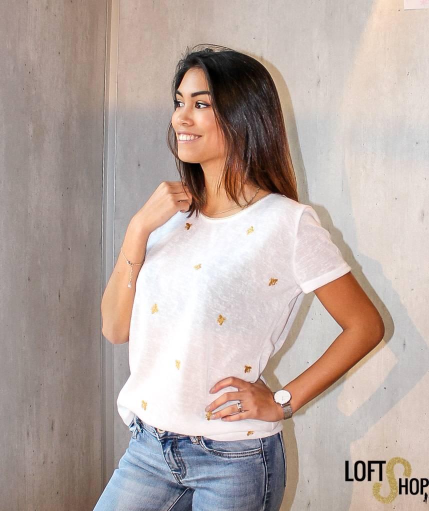 V-Code T-shirt Ella White