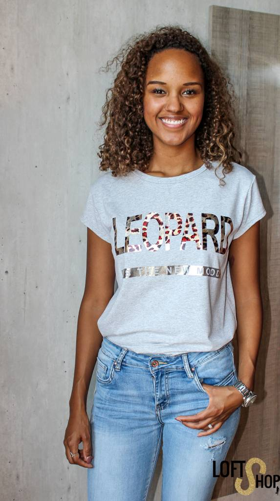 Besh Girl T-shirt Leopard Grey TU