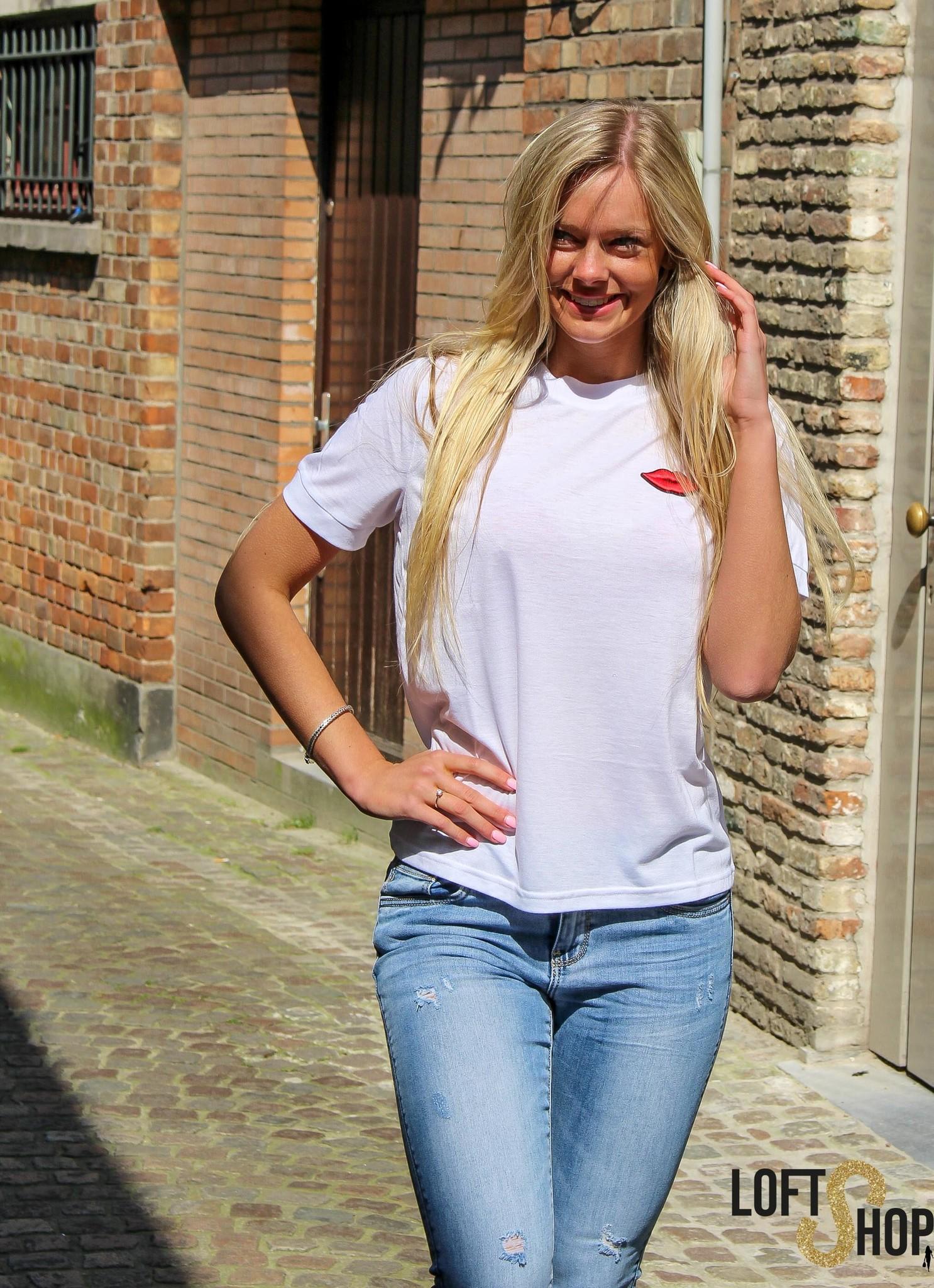 Rut&Circle Lip T-shirt White