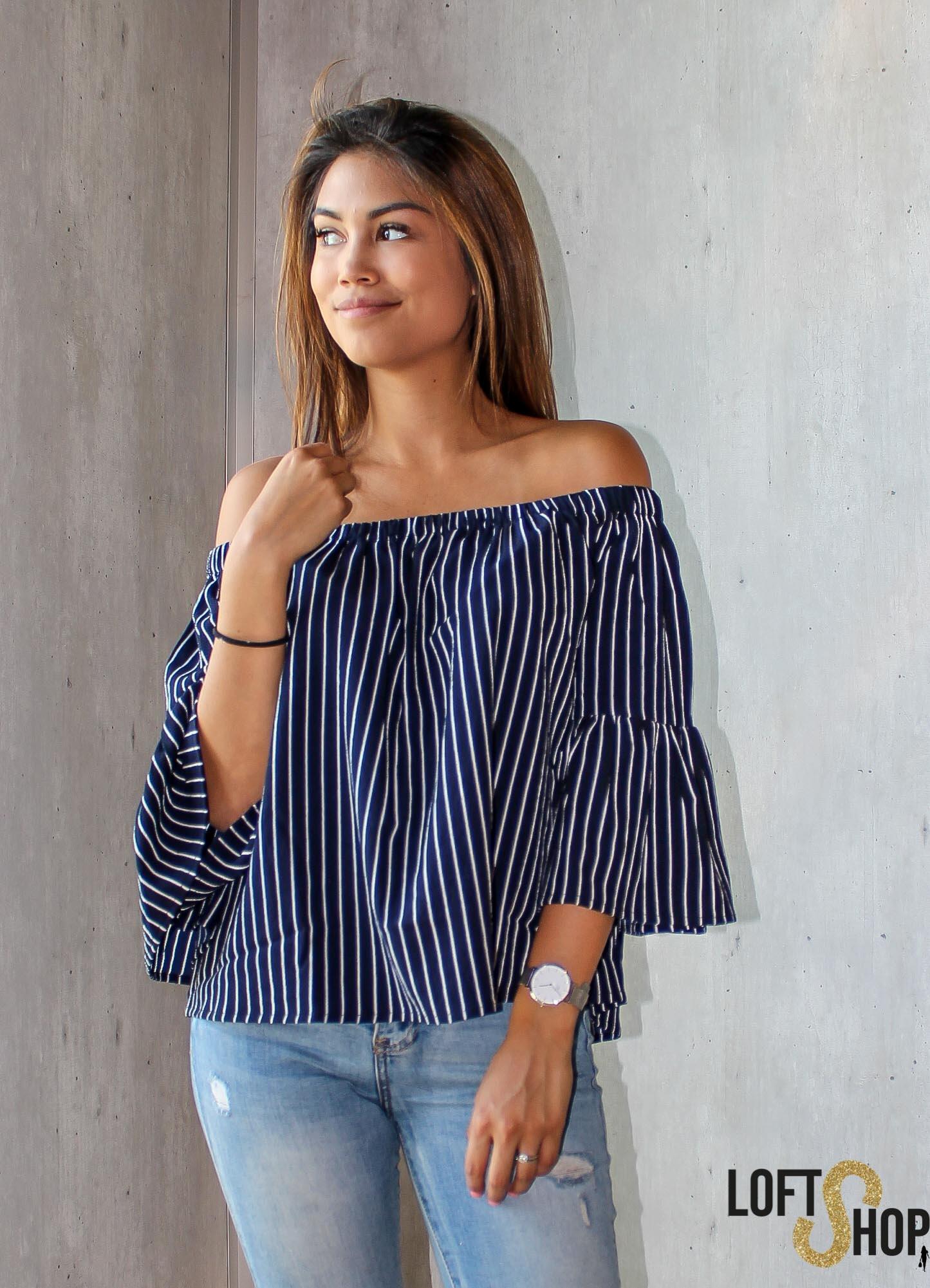 Rut&Circle Fatima Stripe Blouse Blue