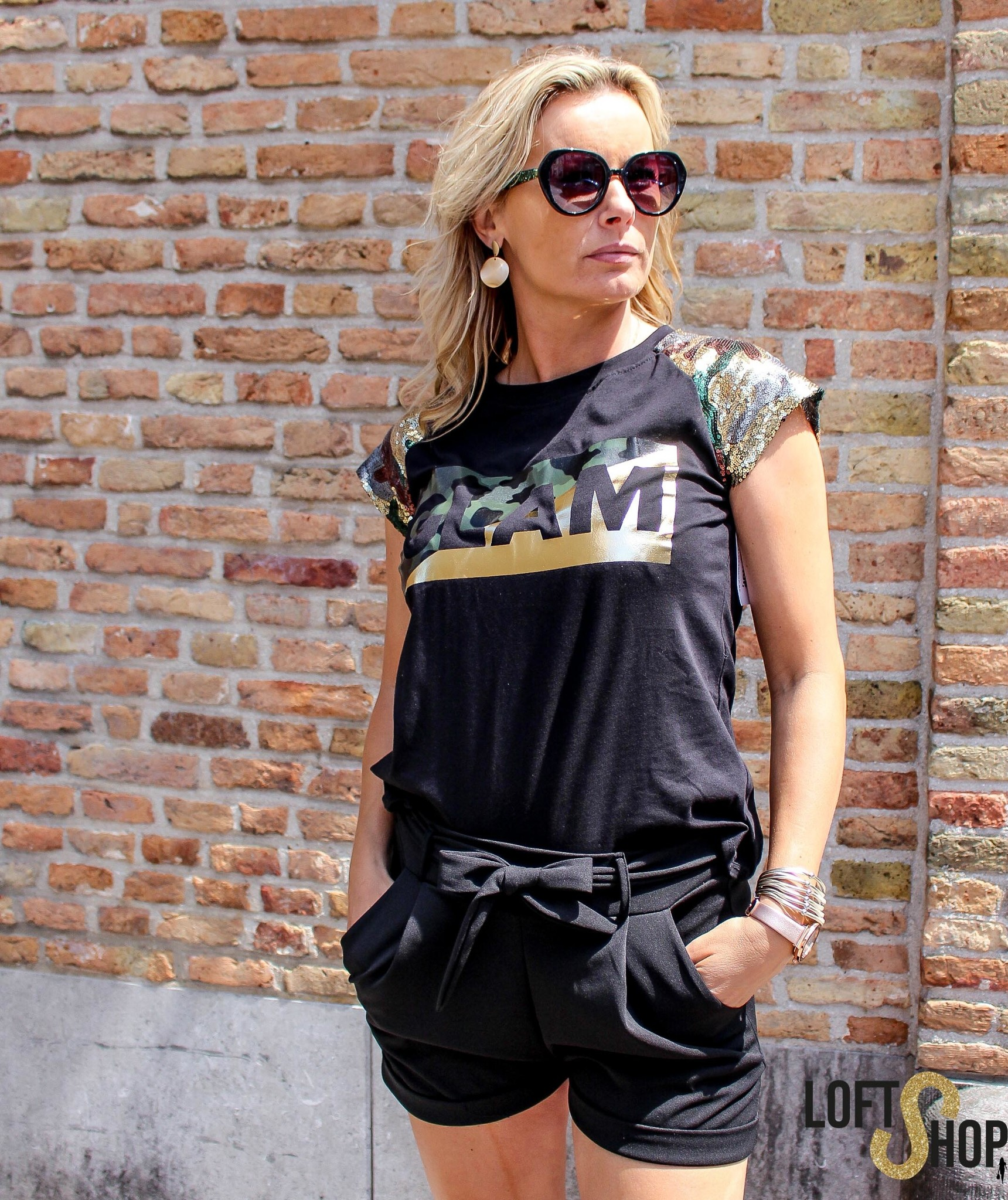 J&D Fashio T-shirt Glam Black TU
