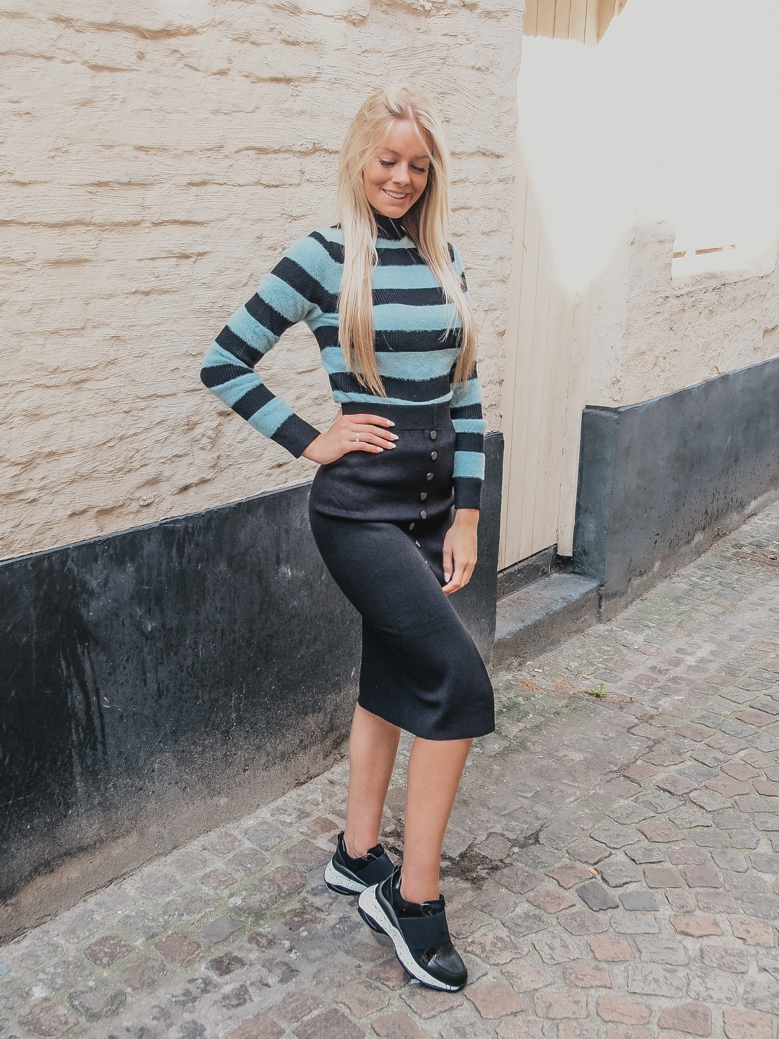 Lofty Manner Sweater Betty Petrol/zwart