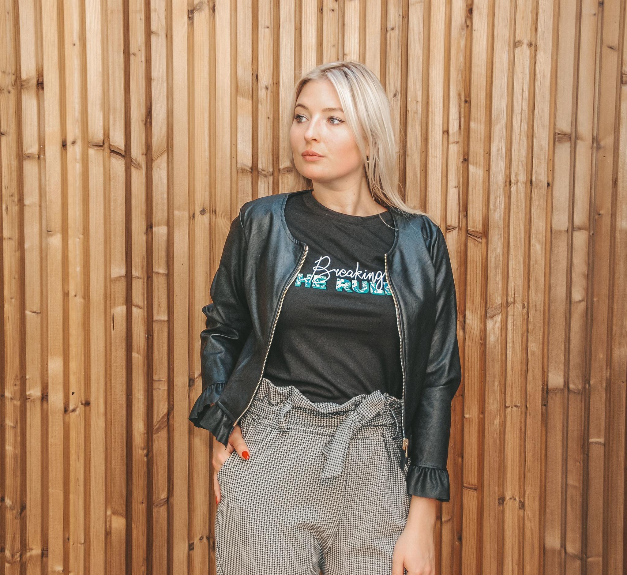Pinkblack Leather Jacket Lara Black
