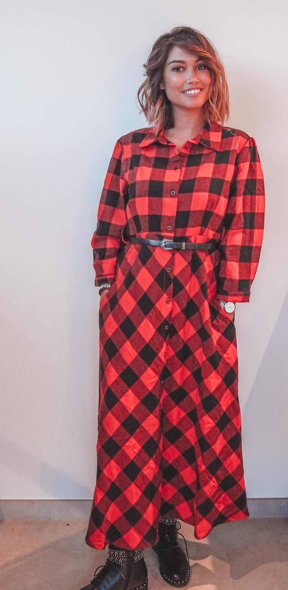 Dress Check Red Long TU
