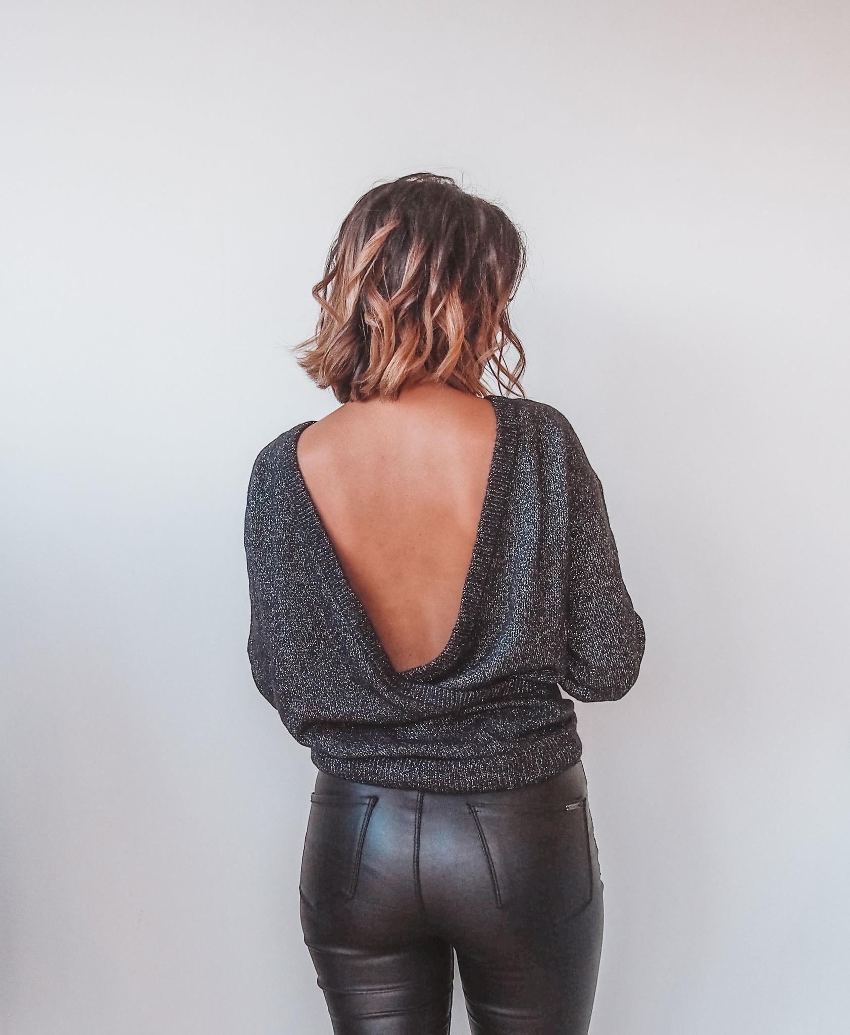 Marie Glitter Knit - Black/Silver