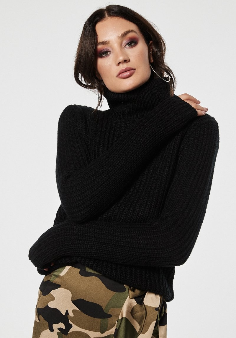 rollneck black knit rhomi
